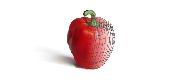 A half-done gradient mesh of a red pepper